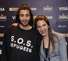 Salvador Sobral and Luísa Sobral at the first semi-final winners' press conference