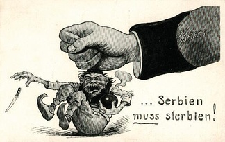 "The attitude underlying the concept of ""untermensch"" existed before the word was first used in that sense in 1922.  This propaganda poster from World War I depicts the fist of Austria-Hungary crushing its subhuman enemy, a chimpanzee-faced Serb wearing Ottoman slippers and carrying the assassin's dagger."