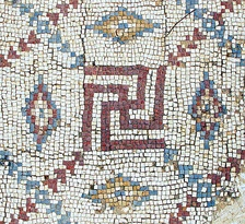 Mosaic swastika in excavated Byzantine (?) church in Shavei Tzion (Israel)