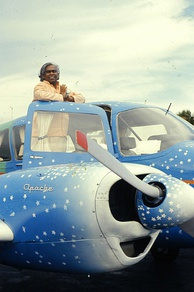 "As ""The Flying Swami"" in his Piper Apache"