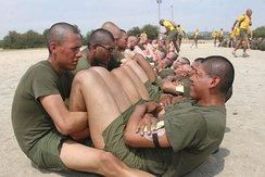Recruits during their first PFT.