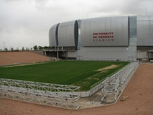 The movable field outside of the stadium.