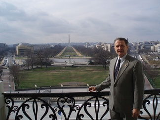 Wally Herger on the Speaker's Balcony overlooking the National Mall.