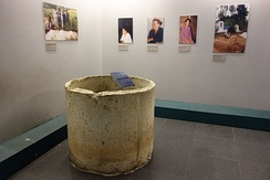 The Thanh Phong sewer pipe in which three children allegedly hid before being killed is on display at the War Remnants Museum in Ho Chi Minh City