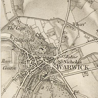The 1834 Ordnance Survey shows the castle to the south of the town, next to the River Avon