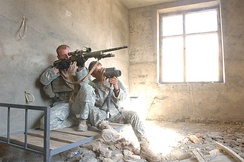 A U.S. Army sniper team from Jalalabad Provincial Reconstruction Team (PRT)