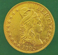 A Turban Head eagle, one of the first gold coins minted under the Coinage Act of 1792