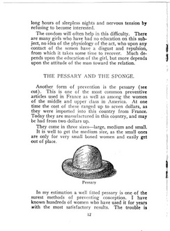 This page from Sanger's Family Limitation, 1917 edition, describes a cervical cap
