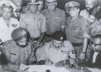 Surrender of Pakistan on 16 December 1971 at Suhrawardy Udyan, bringing the Bangladesh Liberation War to an end.