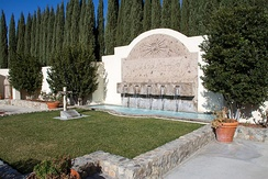 The grave of César Chávez is located in the garden of the Cesar E. Chavez National Monument in Keene, California.