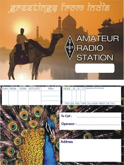 The generic QSL card created by ARSI for amateur radio operators in India