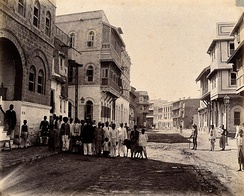An 1897 image of Karachi's Rampart Row street in Mithadar