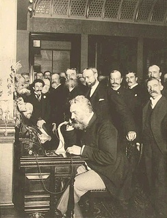 Alexander Graham Bell placing the first New York to Chicago telephone call in 1892