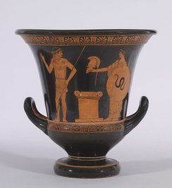 Greek red-figure vase in the krater shape, between 470 and 460 BC, by the Altamura Painter