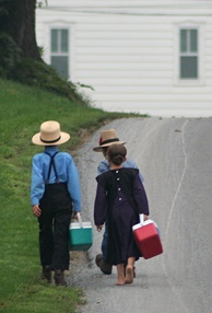 Amish children on their way to school