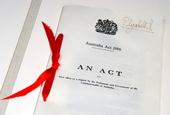 Australia Act 1986 (United Kingdom) document, located in Parliament House, Canberra, and bearing the signature of Elizabeth II as Queen of the United Kingdom