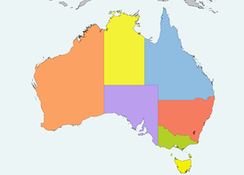 The Commonwealth of Australia, consisting of its federal district, Australian Capital Territory (red), the states of New South Wales (pink), Queensland (blue), South Australia (purple), Tasmania (yellow on the bottom), Victoria (green), Western Australia (orange) and the Northern Territory (yellow on the top)