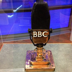 Produced between 1934 and 1959, the BBC-Marconi Type A microphone has been described as an iconic symbol of the BBC alongside the channel's most famous emblem, the rotating globe, which was introduced in 1963.[56]