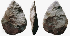 A cordiform biface as commonly found in the Acheulean, associated with Homo erectus and derived species such as Homo heidelbergensis.