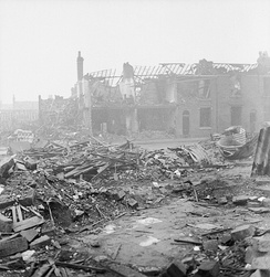 Bomb damage to a street in Birmingham after an air raid