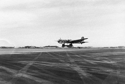 An He 177 taking off for a sortie, 1944.