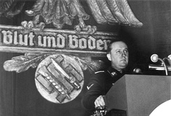 Darré speaking at a Reichsnährstand assembly under the slogan 'Blut und Boden' (blood and soil) in Goslar, 1937