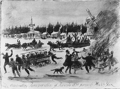 Residents celebrate the incorporation of York into the City of Toronto in 1834.