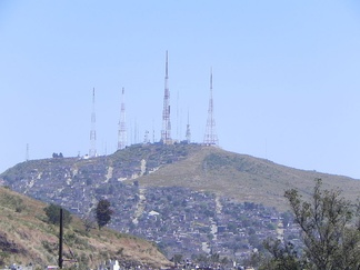 Cerro del Cuatro in Guadalajara. Most Mexican television stations transmit from mountains like this one, to increase signal coverage.
