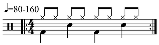 The basic common time groove with bass (bottom), back beat snare, and cymbal (top) is common in popular music play (help·info)