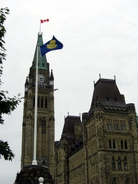 The Commonwealth flag flying at the Parliament of Canada in Ottawa