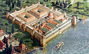 Reconstruction of the Palace of the Roman Emperor Diocletian in its original appearance upon completion in 305, by Ernest Hébrard
