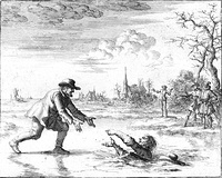 Dirk Willems saves his pursuer. This act of mercy led to his recapture, after which he was burned at the stake. Luyken, Jan (1685), Dirk Willems (picture).