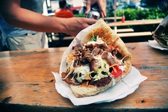 The döner kebap is one of the most popular fast-foods in Germany.