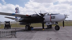 U.S. Douglas A-26C Invader painted in fake Cuban Air Force colors for the military invasion of Cuba undertaken by the CIA-sponsored paramilitary group Brigade 2506 in April 1961.