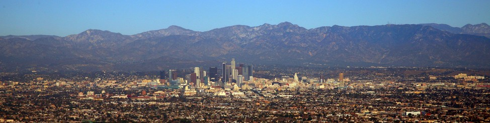 Downtown Los Angeles panorama, with San Gabriel Mountains as backdrop, 2013