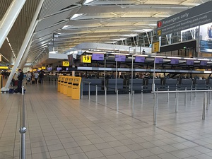 Check-in hall interior at the Amsterdam Airport Schiphol.