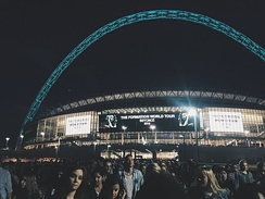 The exterior of Wembley, following a Beyoncé concert during The Formation World Tour.