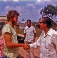 Prime Minister George Cadle Price and a Peace Corps volunteer, Belize, 1976