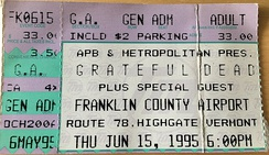 Highgate, VT ticket stub