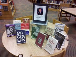 The Monmouth County Library Headquarters displayed books by and about McGovern, following his October 2012 death.
