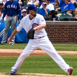 Lackey pitching for the Chicago Cubs in 2016