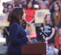 Harris at her formal campaign launch for the Democratic nomination for President of the United States in the 2020 election, January 27, 2019