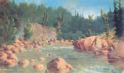 French River Rapids, field sketch by Paul Kane, 1845.