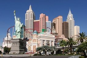 A replica of the Statue of Liberty forms part of the exterior decor at the New York-New York Hotel and Casino on the Las Vegas Strip