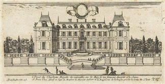 The garden façade of the chateau of Louis XIII in 1660–64. (Engraving by Israël Silvestre)