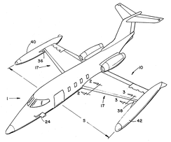 Gates Learjet patent filed June 24, 1976, showing the initial learjet configuration with tip tanks