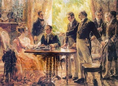 Sessão do Conselho de Estado, depicting Princess Leopoldina acting as regent of the Kingdom of Brazil on behalf of her husband Pedro during a meeting with the Council of Ministers, 2 September 1822.