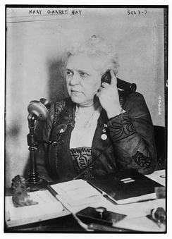 Mary Garrett Hay on the telephone in 1918