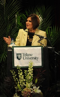 Mary Matalin speaking at a Bipartisan Policy event at Tulane University in 2009