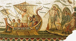 A Roman mosaic depicting a maritime scene with Odysseus (Latin: Ulysses) and the Sirens, from Carthage, 2nd century AD, now in the Bardo Museum, Tunisia